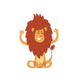 cute lion cub cartoon character meditating in vector image vector image