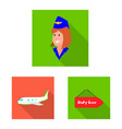 design of airport and airplane sign set of vector image vector image