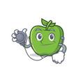 doctor green apple character cartoon vector image