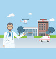 doctor standing in front of city hospital vector image vector image