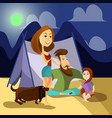 family camping concept poster cartoon vector image vector image