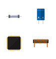 flat icon appliance set of cpu transistor bobbin vector image vector image
