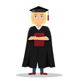 Flat with a girl graduate in a cap and gown