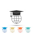 graduation cap on globe world education symbol vector image vector image