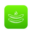 grilled sausages icon green vector image