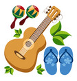 guitar maracas beach flip flops color a summer vector image vector image