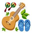 guitar maracas beach flip flops color of a summer vector image vector image
