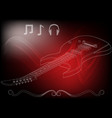 guitar on a red vector image vector image