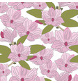 hand drawn magnolia - seamless pattern vector image vector image
