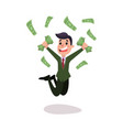 happy wealthy businessman character jumping under vector image vector image
