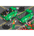 Isometric Garbage Rickshaw in Rear View vector image