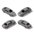 isometric gray sedan car set from different sides vector image vector image