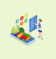 isometric healthy food and diet planning concept vector image