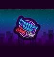 jazz club neon neon sign logo brilliant vector image vector image