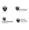 logo with blueberries on white background vector image