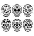 Mexican sugar skull Dia de los Muertos icons set