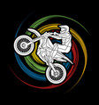 motorcycle cross jumping freestyle motocross vector image vector image