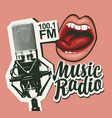 music radio banner with microphone and girls lips vector image vector image
