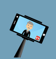 old businessman making a selfie vector image