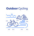 outdoor cycling concept riding bicycle trip vector image vector image
