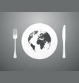 plate with cutlery and world map vector image vector image
