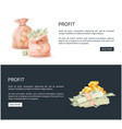 profit web posters set sacks full of money vector image