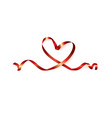 red heart ribbon isolated on white background vector image