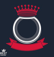 ring with 3d imperial crown and festive ribbon vector image vector image