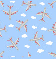 seamless pattern airplane in the sky flat style vector image vector image