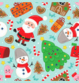 seamless pattern with cute christmas characters vector image