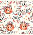 seamless pattern with cute fase cats and bows vector image vector image