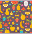 seamless pattern with hand drawn fruit summer vector image vector image