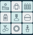 set of 9 farm icons includes barrier helianthus vector image vector image