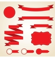 Set of curled red ribbons vector image vector image