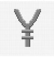 Sign pixel yen grey in grid 608 vector image