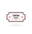 simple linear cinema ticket icon on white vector image vector image