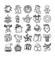 sketch drawing christmas doodle icons vector image
