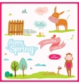 Summer or spring with funny animals vector image vector image