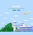 up in sky concept with airplane takeoff vector image