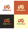 wallet mask logo and icon vector image vector image