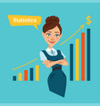 woman stands near board with profit growth chart vector image