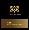 gold square shape geometry logo vector image