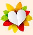 Paper Heart on Colorful Leaves vector image