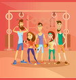 group of people working out in a gym and dressed vector image