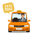 free taxi concept happy driver rides a car