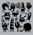 abstract kids fear monster character black vector image