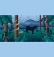 amazonia forest with panther and python vector image