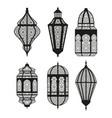 arabic or islamic lanterns set black collection vector image vector image