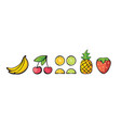 banana cherry lemon lime pineapple strawberry vector image
