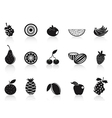 black fruit icons set vector image